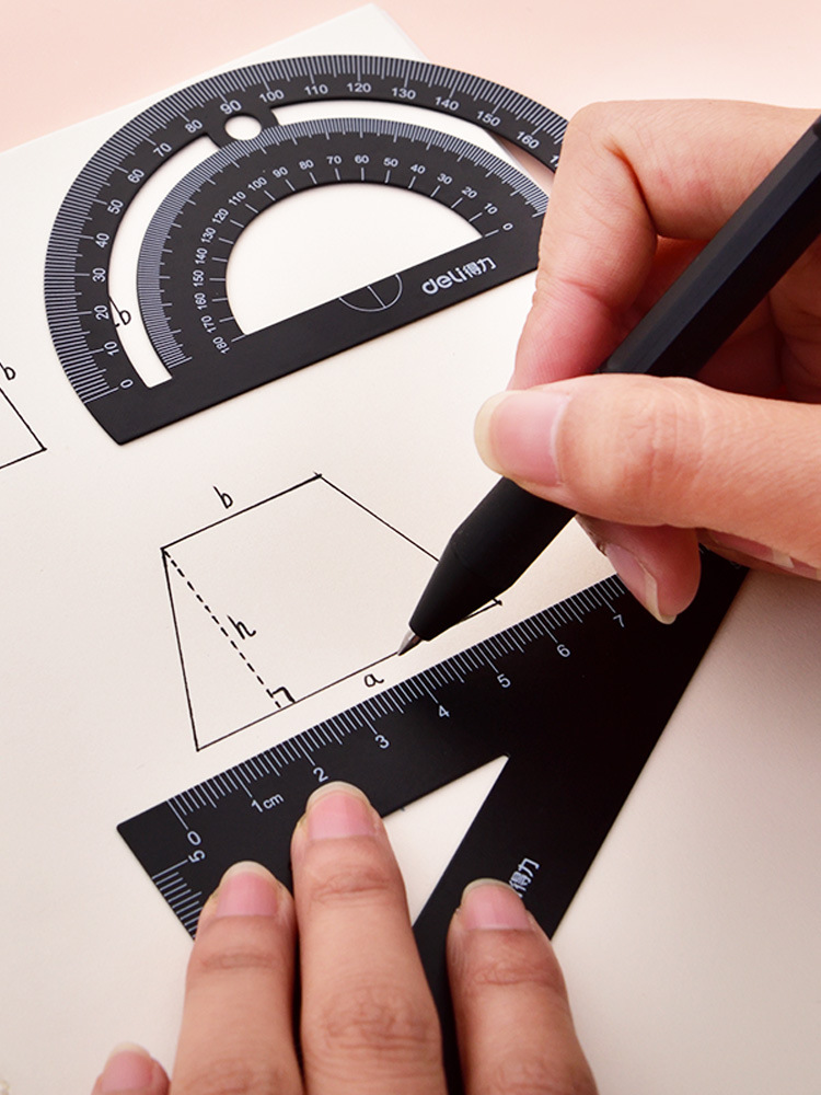 Deli Stationery 79510 Metal Ruler Sets For Student Ruler Triangle Ruler Protractor Four-piece Set Pp Boxed Portable