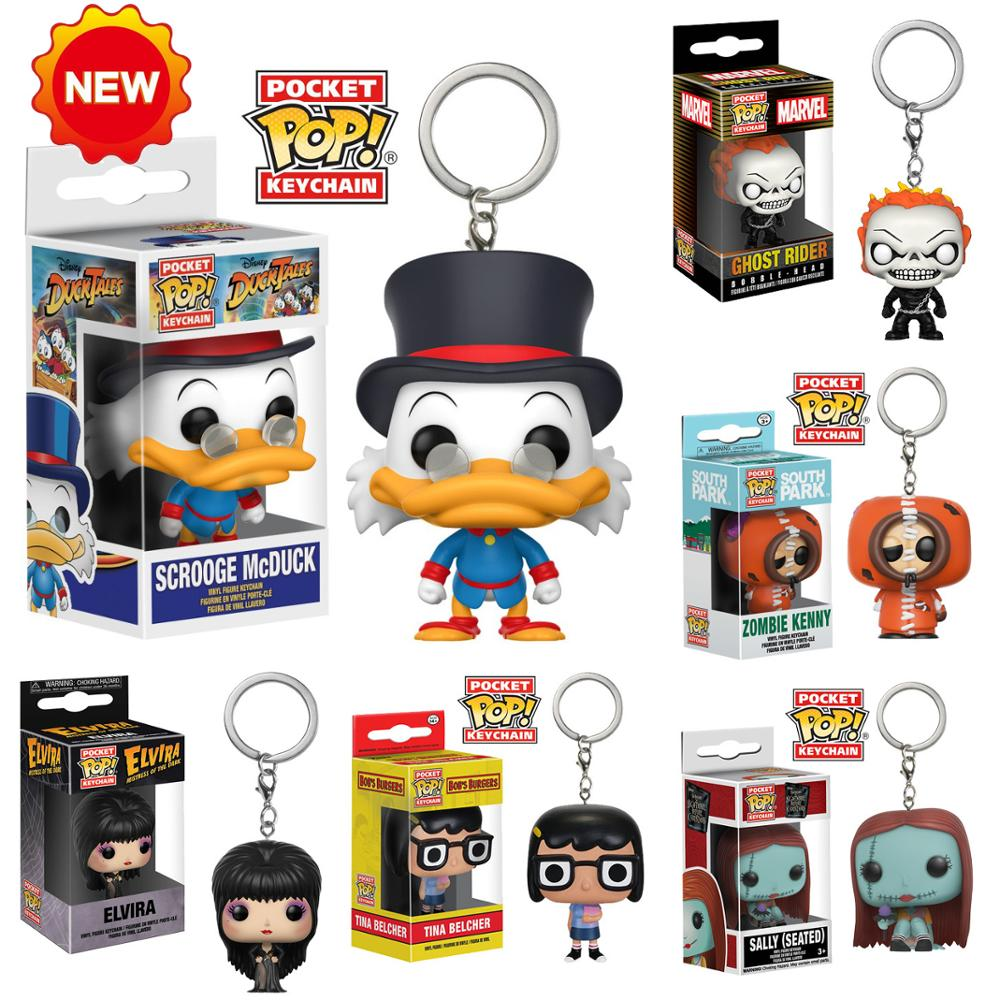 New Arrival Funko Pop Keychain Toys South Park Zombie Kenny Sally Scrooge McDuck Elvira Ghost Rider Model Doll Keyring Gift Toys