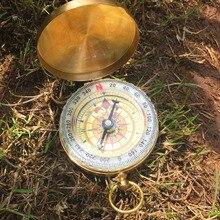 Чистый медный Раскладушка Компас со светящимися карманными часами компас портативный открытый многофункциональный металлический измерительный инструмент линейка