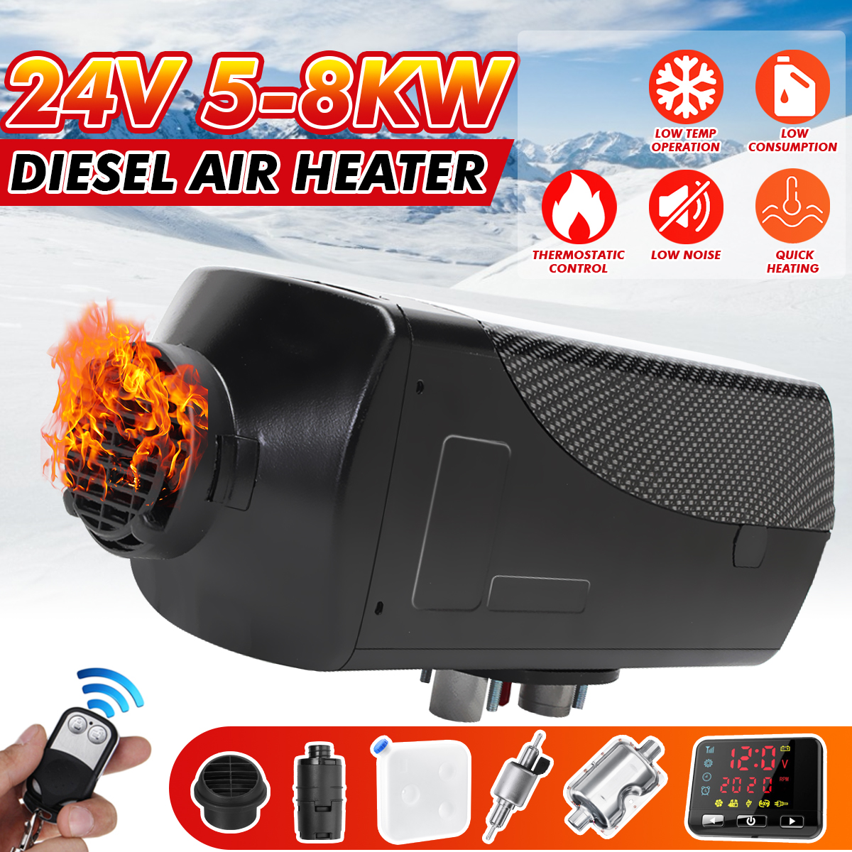 8KW 24V Local gold  Air Diesels Heater Parking Heater With Remote Control LCD Monitor Car Heater Silencer For free|Heating & Fans| |  - title=
