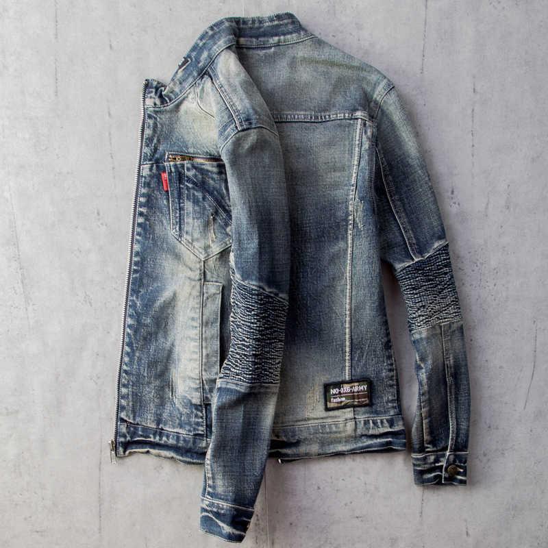 Primavera homem denim casacos streetwear estilo europeu sobretudos autos dos homens jean jaquetas de beisebol jaqueta casual uniforme roupas a527