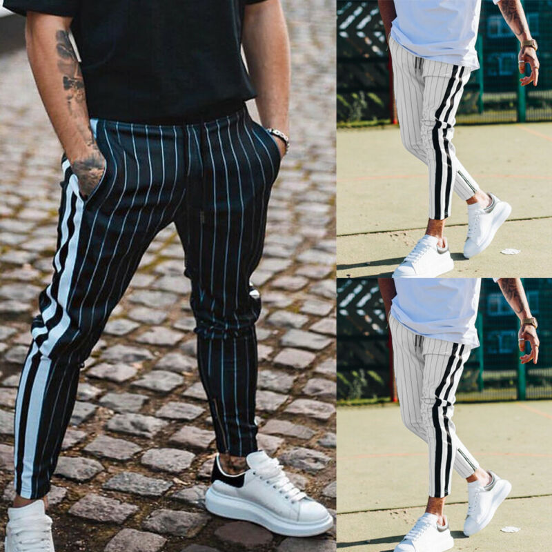 Fashion 2019 Men Casual Stripe Long Trousers Slim Fit Tracksuit Sport Gym Skinny Stripe Jogging Joggers Sweat Pants Trousers