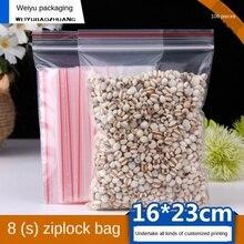 Ziplock Bag Transparent Plastic Bag Plastic Packaging Bag 16X23cm 8 Silk Plastic Food Bags Zipper Sealed Packaging Bag 100pcs