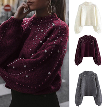 2019 Women Knitted Sweaters Long Sleeve Wrap Front Loose Pullover Jumper Tops Autumn Winter Casual Crow Neck Cuffs Jumper Tops bell sleeve jumper