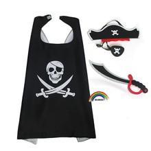 Детский костюм пирата 70*70 см для костюмированной вечеринки, Детский костюм для Хэллоуина с накладкой на глаза, игрушечный нож из ЭВА, нарядн...