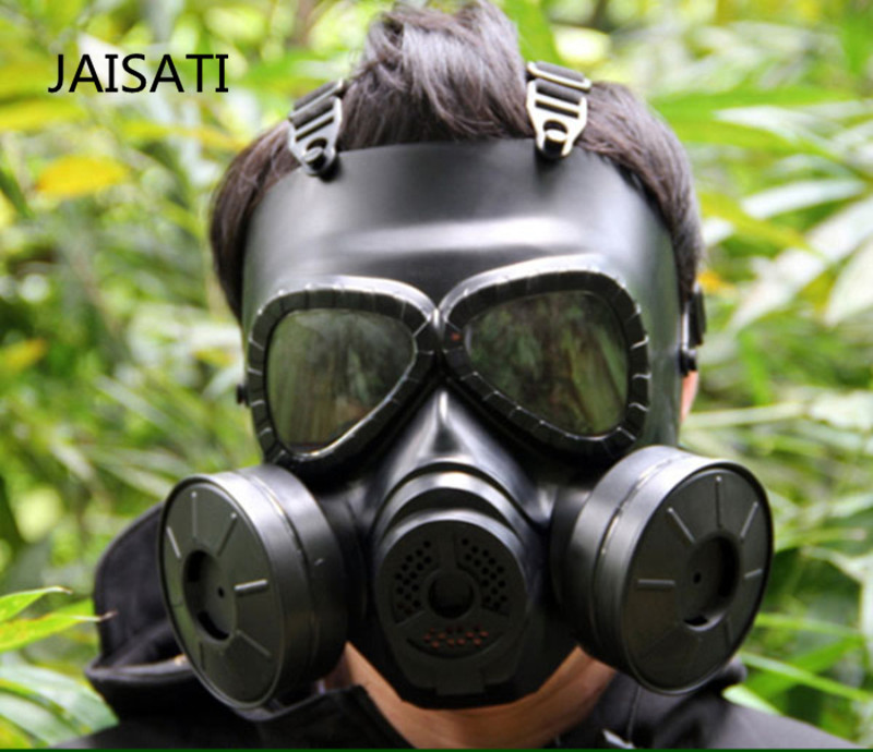 JAISATI Double Irrigation Built-in Fan Gas Mask Outdoor Field Protective Mask Tactical Face