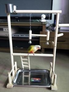 Image 3 - תוכי Playstands עם כוס צעצועי מגש ציפור נדנדה טיפוס תליית סולם גשר עץ קוקטייל משחקים ציפור מוטות 53*23*36cm