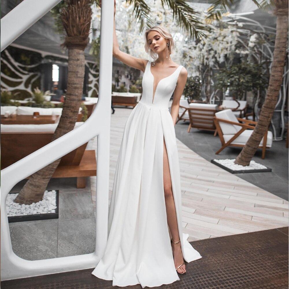 Elegant White Ivory Satin Wedding Dress V-neck High Slit ...