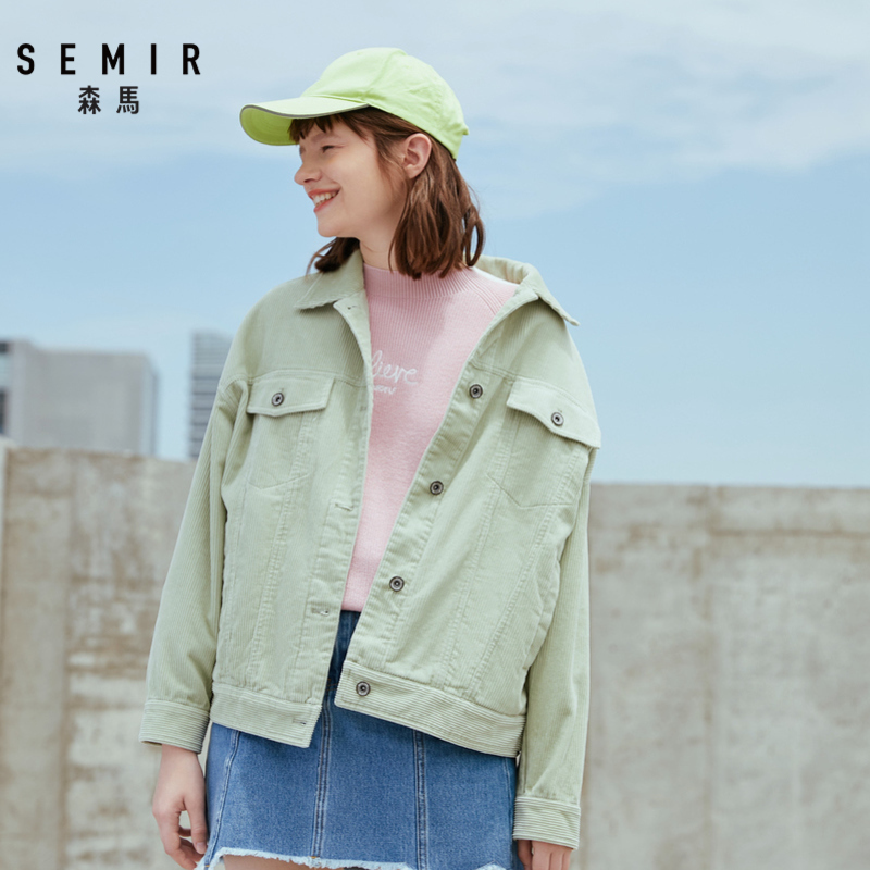 SEMIR Jacket Women 2019 Autumn New Corduroy Cotton Jacket Lapel Loose Tooling Jacket Tide Turn-down Collar