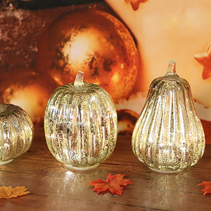 Image 3 - Glass Pumpkin Light LED Glowing Delicate Halloween Decorative Lamp Party Supplies for Thanksgiving Halloween Fall Decorations