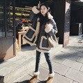 Estilo quente cordeiros lã emenda han edição novo inverno algodão-acolchoado jaqueta feminina em vento solto longo com algodão grosso-acolchoado clo