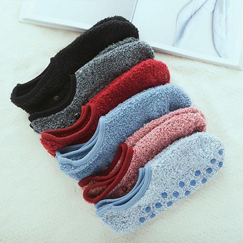 Осенне-зимние хлопковые теплые флисовые Носки с глубоким вырезом, милые повседневные женские носки до лодыжки, с силиконовым покрытием, Нес...