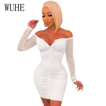 WUHE New Arrival Front and Back Two Ways To Wear Women Dress Elegant Sexy Off Shoulder Zipper Fashion Hollow Out Vestidos