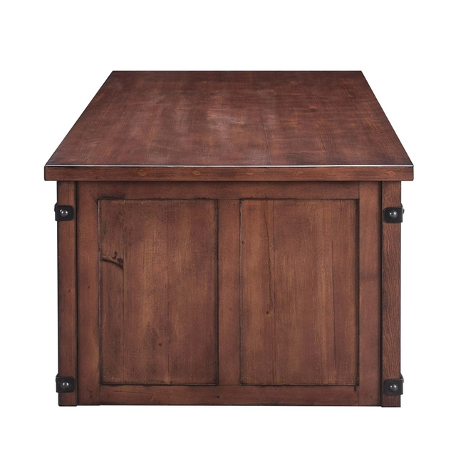 Coffee table With Storage Shelf and Cabinets, Sliding Doors 4