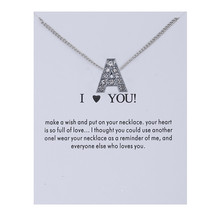 Fashion Alphabet Initial Letters Message Crystal Necklace Pendant Women Sweater Chain Necklaces Valentine's Day Gift Jewelry cuteeco new fashion 26 letters initial necklace for women alphabet necklaces pendants kolye collier friendship necklace 2019 hot
