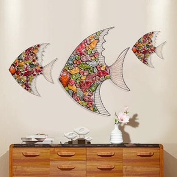 Wall hangings wrought iron fish, three-dimensional dining room wall hangings, home living room wall decorations