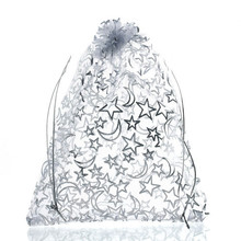 Jewelry-Bags Organza White Doreen-Box 5-1/8-16cm Drawstring Rectangle Star Moon-Pattern