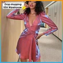 2020 Новое сексуальное яркое шелковое платье осеннее с v образным