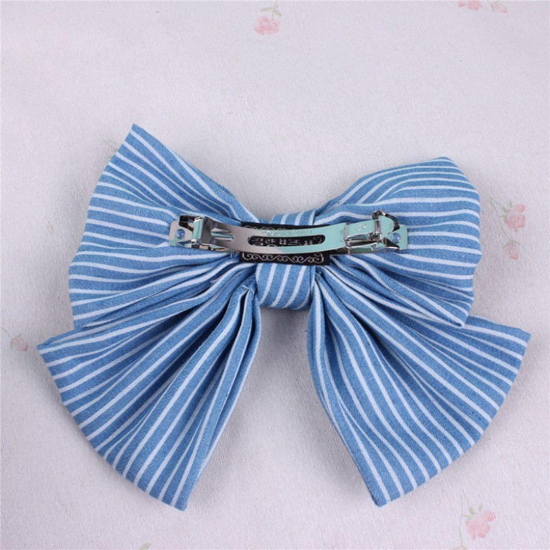 1 Pc Denim Hair Bow Ties with French Clips for Girls Solid Stripped Dot Butterfly Bow Knot Hairpins Handmade Lady Denim Headwear in Women 39 s Hair Accessories from Apparel Accessories