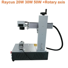 20w 30w mini portable raycus fiber laser source marking machine price for sale with rotary axis attached