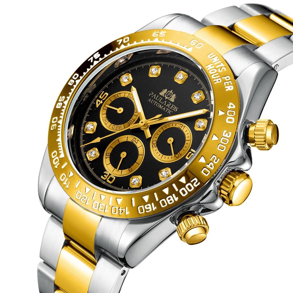 Men Automatic Watches Self Wind Mechanical Gold Black Stainless Steel Strap Diamonds Stone Fashion Sports Luxury Watch