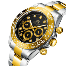 Men Automatic Watches Self Wind Mechanical Gold Black Stainless Steel Strap Diam