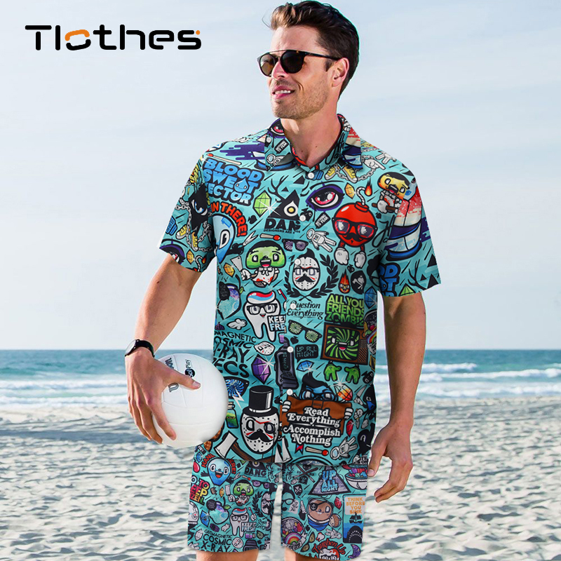 Summer 2 Piece Set Men Cartoon Print Hawaiian Shirts And Shorts Sandy Beach Wear Men Clothes Short Sleeve Vacation Casual