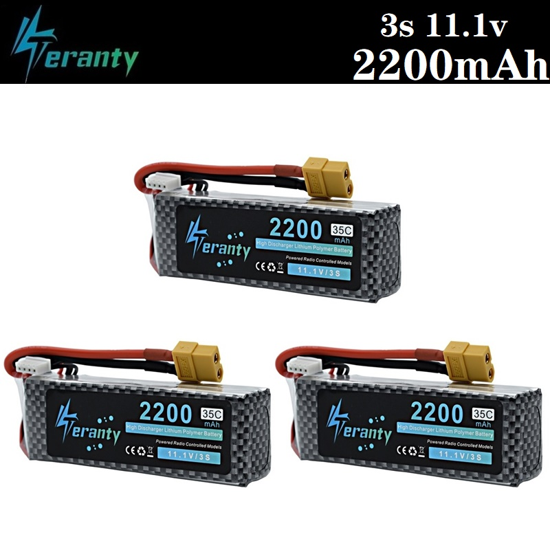 3PCS/lot 3S 11.1v 2200mAh 35C LiPo Battery XT60/T/JST/EC5 Plug For RC Car Airplane Helicopter 11.1v Rechargeable Lipo Battery 3s