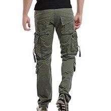 Мужские брюки карго, повседневные мужские брюки с несколькими карманами, мужские военные хлопковые брюки, армейские повседневные штаны для бега, размер 42, Прямая поставка