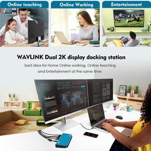 Image 2 - 】 WAVLINK USB3.0 ユニバーサルドッキングステーションデュアルビデオモニターサポート DVI/HDMI/VGA 2048X1152 ギガビットイーサネット 6 USB ポート