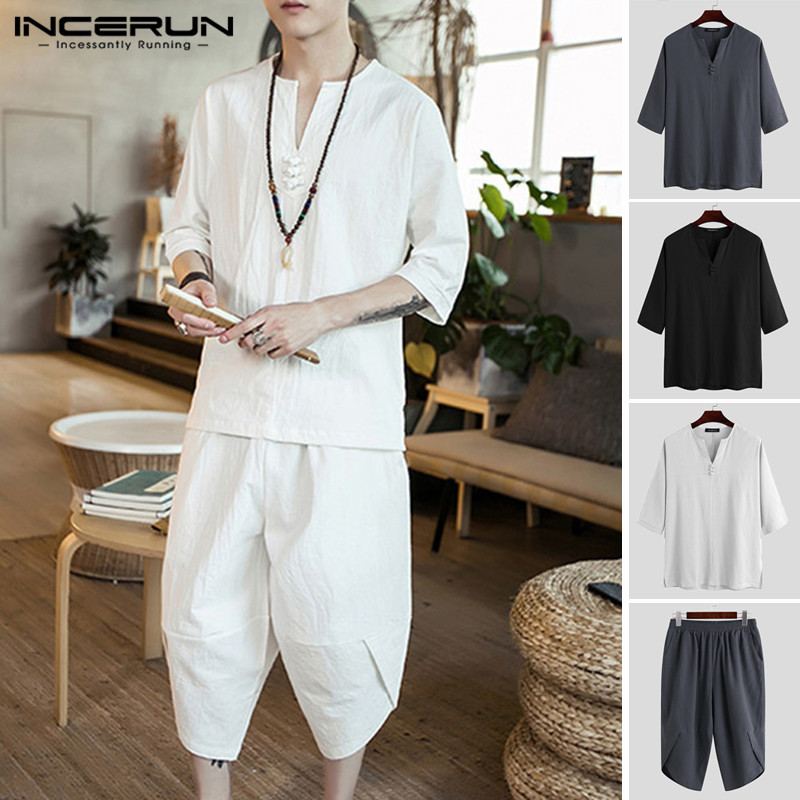 Summer Chinese Style Men Sets Half Sleeve Solid 2020 Streetwear Cotton Tops Vintage Calf Length Pants Leisure Men Suits INCERUN