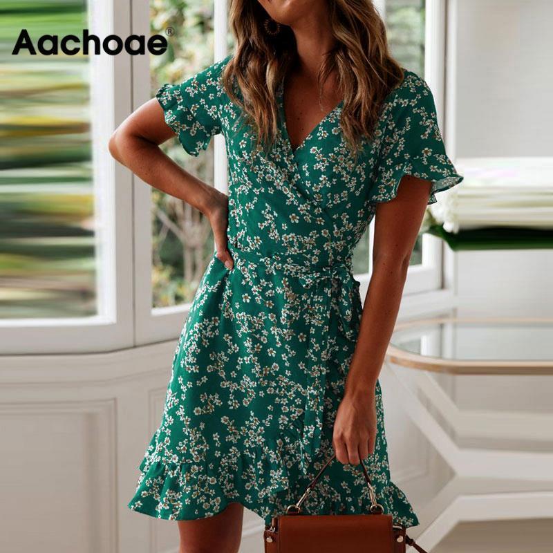 Aachoae Women Dresses Summer 2020 Sexy V Neck Floral Print Boho Beach Dress Ruffle Short Sleeve A Line Mini Dress Sundress Robe(China)