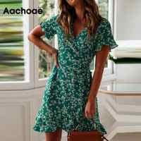 Frauen Kleider Sommer 2020 Sexy V-ausschnitt Blumen Druck Boho Strand Kleid Rüschen Kurzarm EINE Linie Mini Kleid Wrap sommerkleid Robe