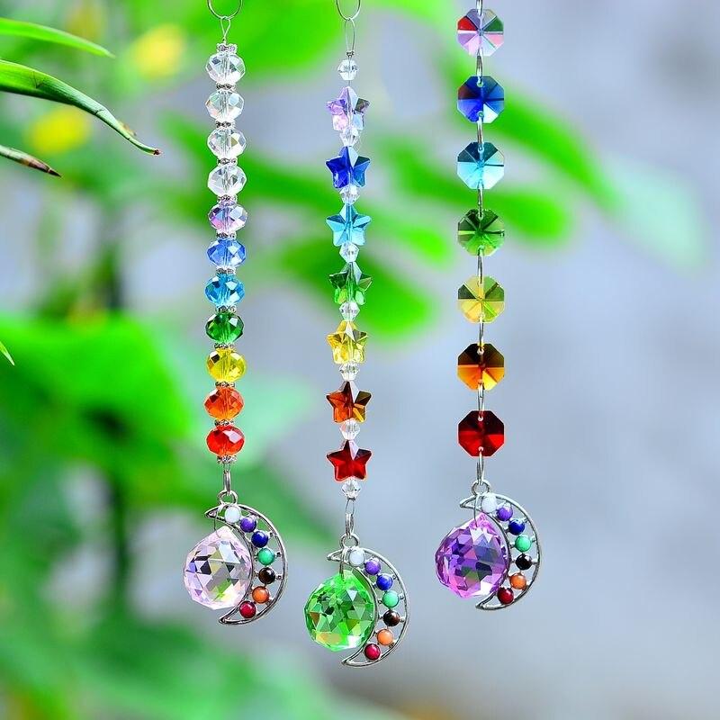 chakra moon suncatcher crystal prisms rainbow chakra window decoration reiki hanging ornament rainbow maker chakra jewel healing