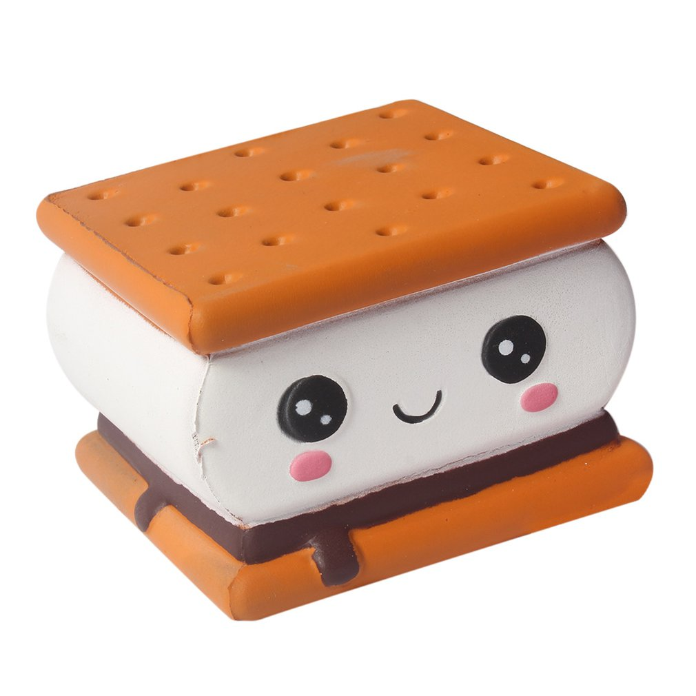 Kawaii New Squishy Expression Chocolate Sandwich Biscuits Slow Rebound Toy Cute Simulation Soft Food Children's Toys Antistress