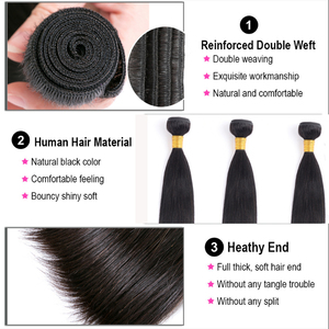 Image 3 - Lumiere Hair Straight Bundles With Closure Brazilian Hair Weave Bundles With Closure non remy Human Hair 3 Bundles With Closure