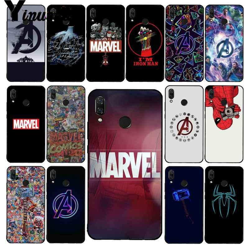 Yinuoda Marvel Avengers โลโก้ Iron Man Spiderman สำหรับ Xiaomi Redmi4X 6A S2 Go Redmi 5Plus Note4 note5 7 Note6Pro