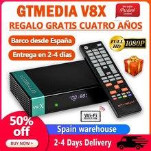 Fta 1080p gtmedia v8x DVB-S2 receptor de satélite atualização hd gtmedia v8 nova/honor suporte h.265 built-in wifi espanha armazém