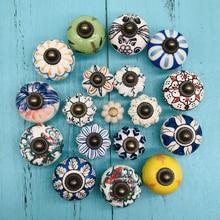 Tiradores de cerámica para puertas de cocina de armario Vintage multicolor pintados a mano, tiradores redondos para cajones, herrajes para mobiliario de cocina