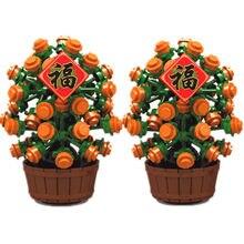 2021 yeni yıl hediye Moc ağaçları blokları çocuklar için DIY oyuncaklar çin şanslı portakal ağacı tuğla uyumlu klasik şehir Creator blokları