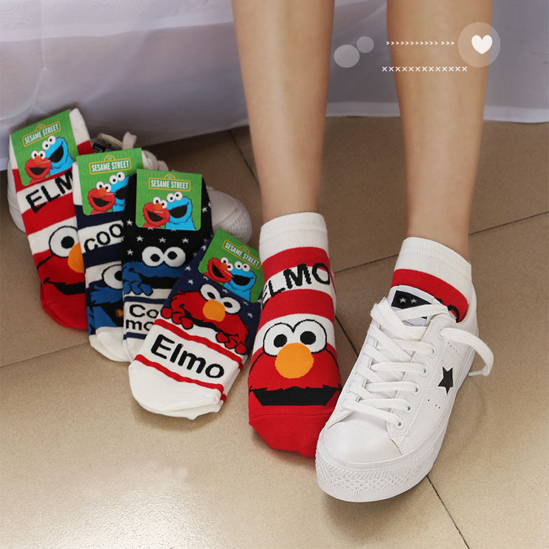 Sesame Street Cartoon Cosplay Socks Elmo Cookie Monster Fashion Novelty Funny Cute Women Sock Autumn Comfortable Cotton Socks
