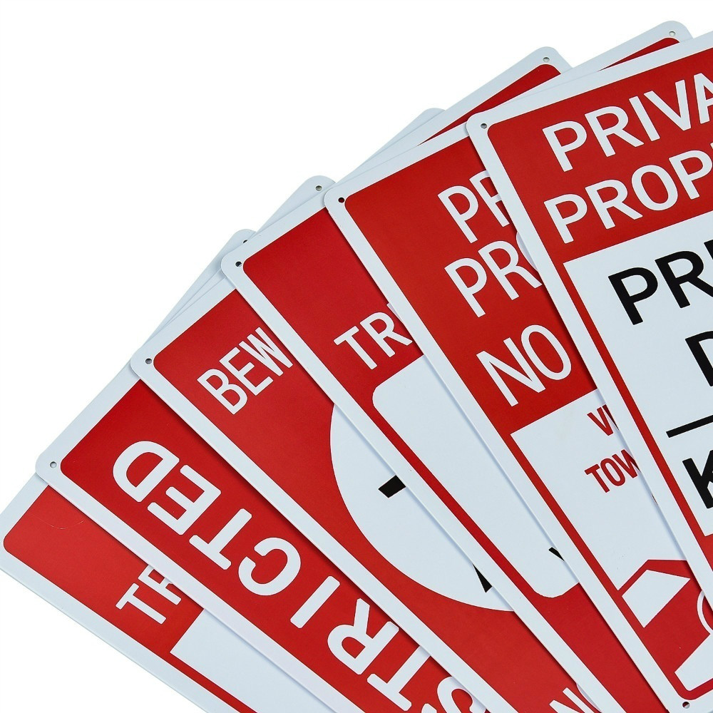 Keep Out Warning Metal Yard Signs 2-Pack No Trespassing Signs Private Property