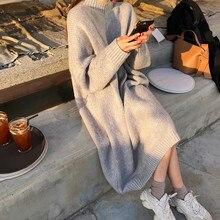 CBAFU الخريف الشتاء نصف الياقة المدورة محبوك فساتين النساء سترة اللباس كم طويل فضفاض بلوفرات vestidos كبيرة حجم P529