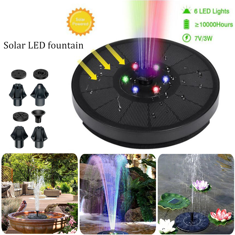 Creative Floating Solar Fountain Pool Decoration Colorful LED Light Solar Panel Powered Fountain Water Pump Pond Lawn Decoration