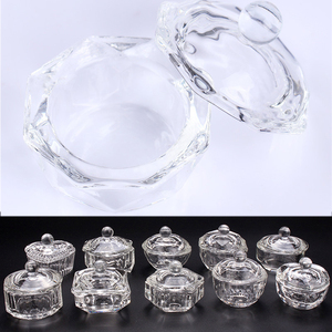 1PC Acrylic Powder Liquid Clear Glass Dipping Dish Lid Bowl Cup Holder Equipment Nail Tool For Nail Art 10 Patern(China)
