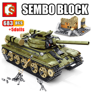 SEMBO WW2 Military Soldiers Tank Soviet Steel Empire T34 Main Battle Tank vehicle Weapon War Army Figure Soldier Brick Toys printio soviet tank
