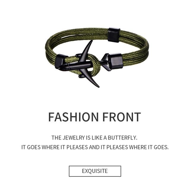 Hot Fashion Black Tail Anchor Bracelet Men Women Rope Chain Double Layer Sporty Leather Bracelet For Men Women Party Jewelry