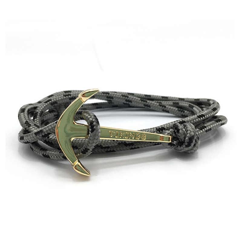 HOMOD pulseras y brazaletes de encanto Vintage para hombres y mujeres caliente hecho a mano cuerda brazalete ancla dorada brazalete de vikingos