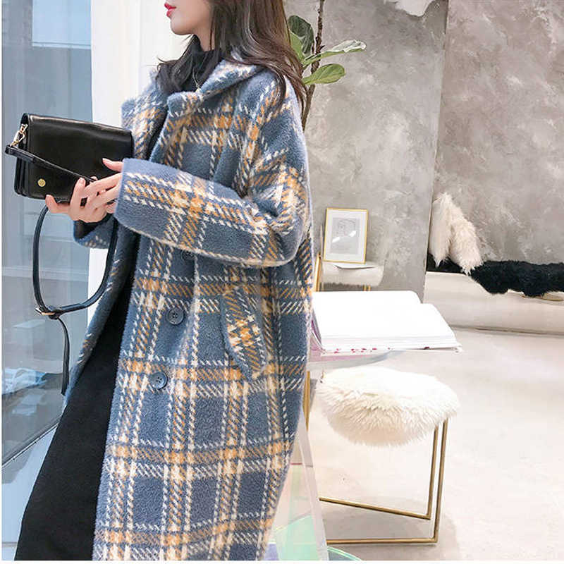 Bella philosophy 2019 autumn elegant plaid women fashion woolen coats ladies casual turn-down collar coats female warm outwear