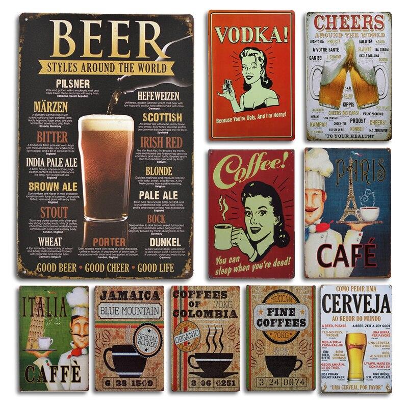 Cartel de cerveza Vodka, letrero de Metal para decoración de pared Vintage, cartel de lata abierta para cafetería, Bar o restaurante, decoración de pared
